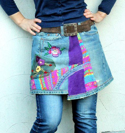 Crazy patchork denim and sweaters mini skirt hips by jamfashion, $72.00