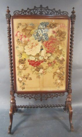Eastlake Victorian Fire Screen With Eagle And Floral