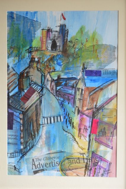 Mixed media painting of Clitheroe