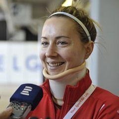 Injured Czech athlete Denisa Rosolova at European Athletics Indoor Championships