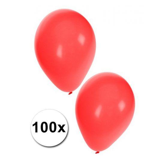 100 grote rode ballonnen. Formaat van de rode ballonnen: ongeveer 27 cm. Deze rode feest ballonnen zijn geschikt voor helium of lucht. Ballonnen in het rood kunt u ook bestellen in kleinere aantallen.