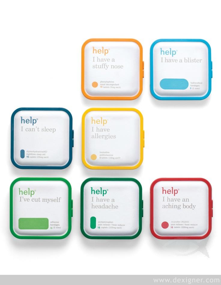 Help Remedies, design ChappsMalina, 2009. Confezioni per medicinali con linguaggi semplici e materiali eco-friendly. Create in polpa di carta modellata e bioplastica, permettono al contenitore di decomporsi nella natura senza lasciar traccia.