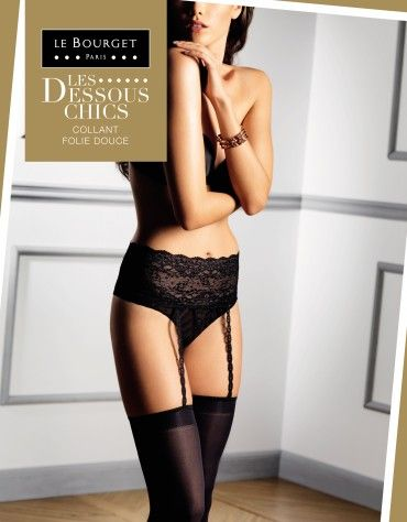 LE BOURGET  FOLIE DOUCE - OPAQUE STOCKINGS AND SUSPENDERS