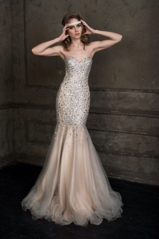 Brunette In An Wedding Dress With A Sparkling Stones Hot