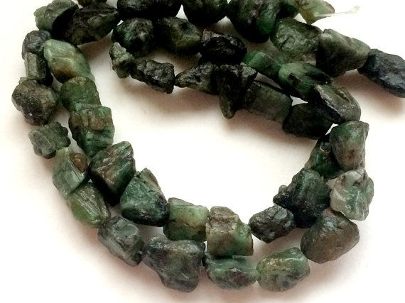 Emerald Rough Beads Drilled Emerald Raw Stones by gemsforjewels