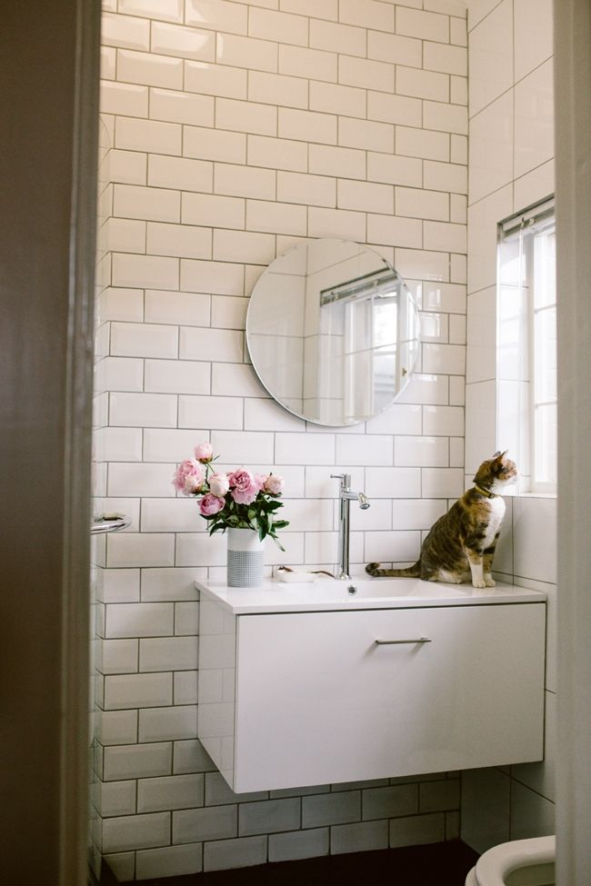 Emma-Jane also upgraded her mirror and added a round mirror from #TileAfrica. Mirrors are not only functional, but also decorative and add that special flair to your bathroom.