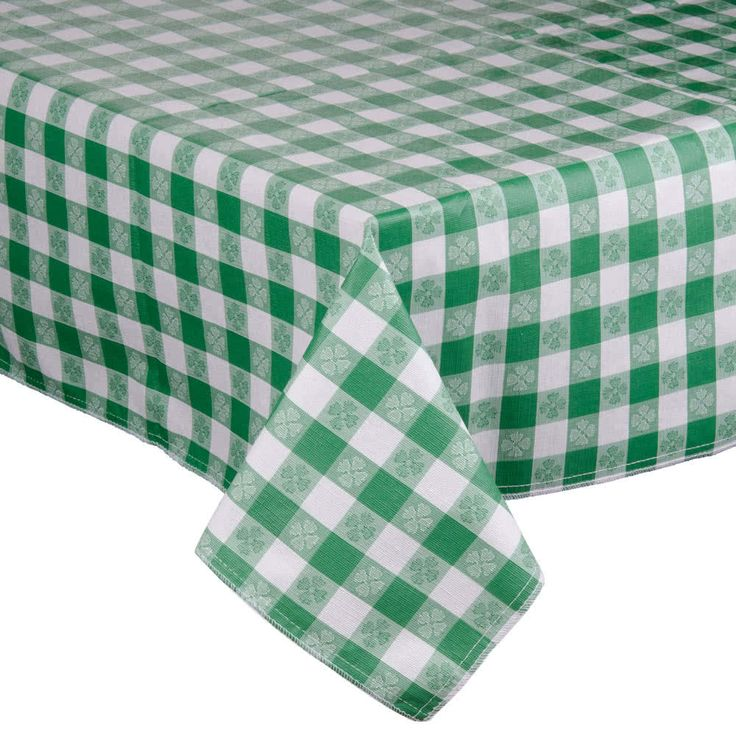 Create custom-length table covers with this 25-yard roll of green-checkered vinyl table cover fabric. Perfect for outdoor decks, poolside cabanas, casual catered events, or classic diners, this roll of green-checkered vinyl table cover fabric provides a fun, laid-back look, while keeping your tabletops free of spills and splatters. The fabric features a flannel back, ideal for protecting tabletops from scratches and for adding weight to keep your table covers in place. The vinyl outer layer…