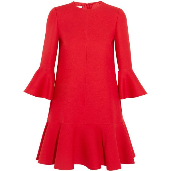 Valentino Ruffle-trimmed wool and silk-blend mini dress ($2,020) ❤ liked on Polyvore featuring dresses, платья, holiday dresses, drop waist cocktail dress, short cocktail dresses, red mini dress and evening cocktail dresses