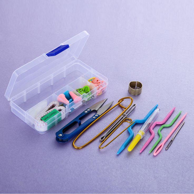 Goedkope Prijs 1 SET breien Accessoires DIY Breien Tools Haaknaald Stitch Weave Accessoires Geleverd Met Case Box