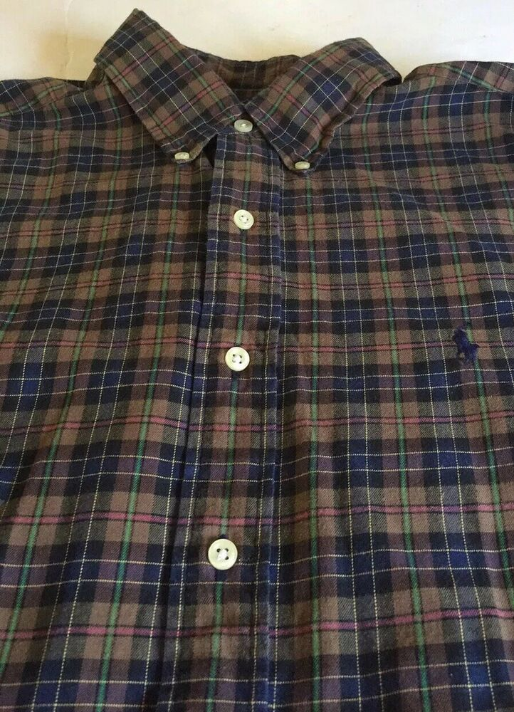 ea53e5d2f104 Ralph Lauren Classic Fit Multicolored Plaid Men's Long Sleeve Button Up Shirt  L #RalphLauren #ButtonFront