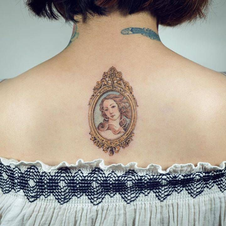 Framed Venus tattoo inspired by Sandro Botticelli's 'The Birth of Venus'.