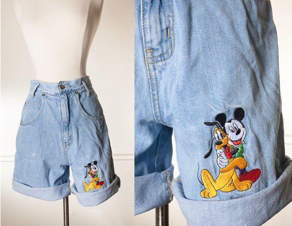 4546484e Vintage Disney Shorts   High Waisted Shorts Denim Shorts Jean Shorts Mickey  Mouse Denim Shorts Festival Shorts Boho 80s from Blue Horizon Vintage.