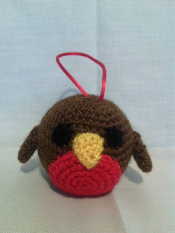 Crochet Robin Christmas Tree Bauble by CarrotTopsCharacters