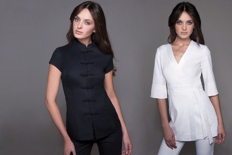 SHANGHAI Tunic in White: Spa, Acupuncture & Medical Uniforms  A Touch of Asian Chic!         This short spa tunic inspired by traditional Asian attire amazes by its freshness, elegance and style and perfects the figure without sacrificing comfort. With its fitted design, its mandarin collar and its traditional hand-made knot buttons, the Shanghai spa tunic has become an absolute star!  Perfect for any spa, wellness, massage, acupuncture or other medical centers, it can be paired wit...