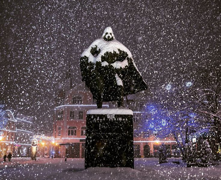 This Polish Statue Looks Like Darth Vader After A Snowy Day | Bored Panda