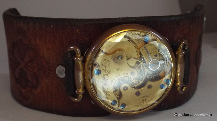 """Oct. 30/14 - Vintage hand-tooled leather 1.75"""" (7cm) band, a cut crystal watch case and an antique Elgin Natl. Watch Co. pocket watch movement from 1893."""