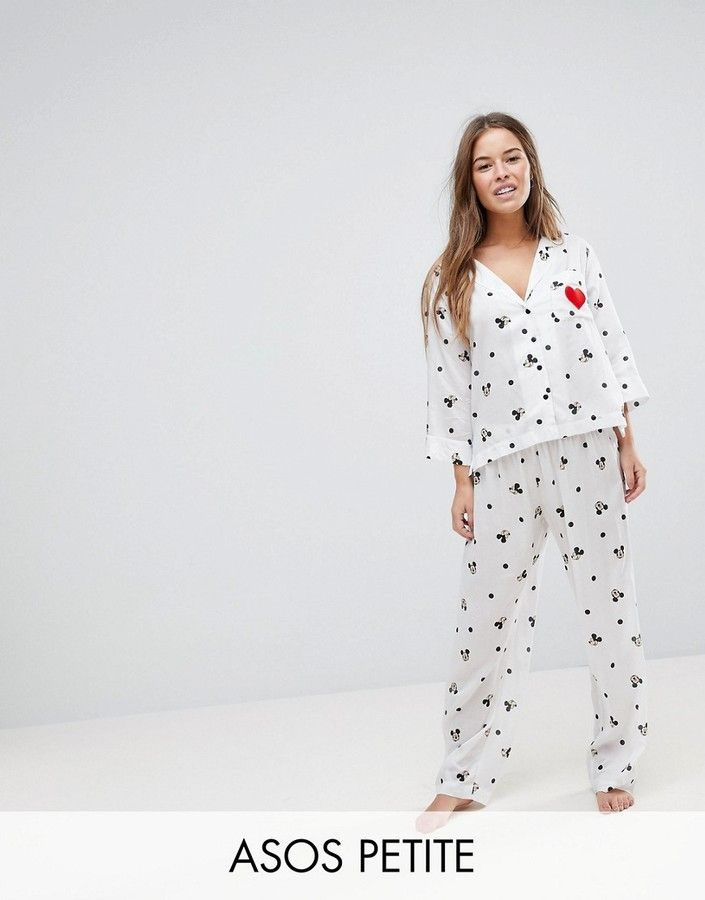 ASOS Petite ASOS PETITE Mickey Embroidered Heart PANTS and Shirt Pajama Set