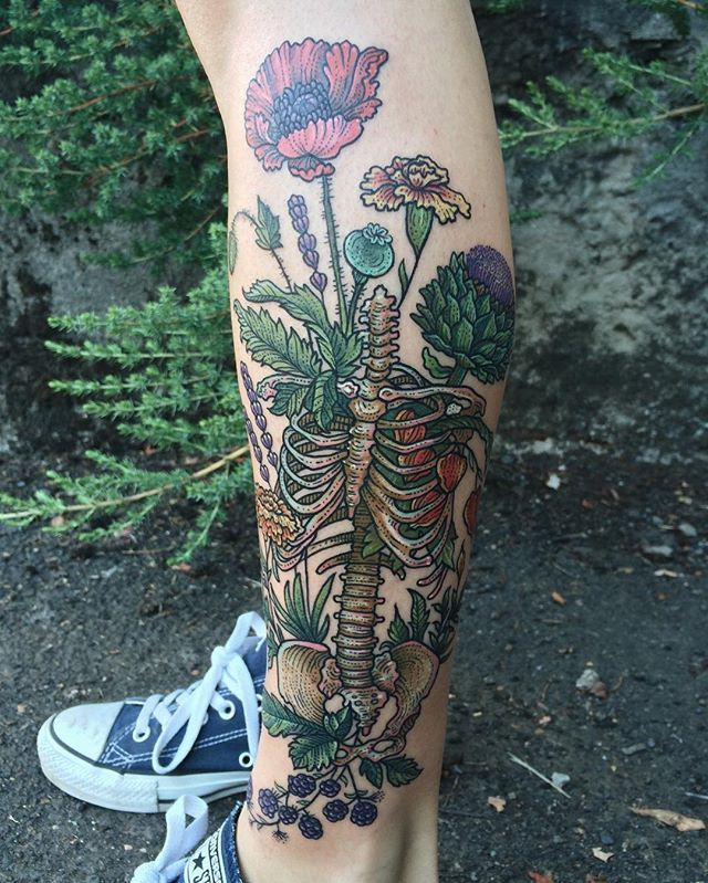 Human skeleton's torso overgrown with medicinal flowers including poppy, lavender, marigold, globe artichoke, Chinese lantern, and blackberry! Thanks Anne! ✨ (one session) ✨