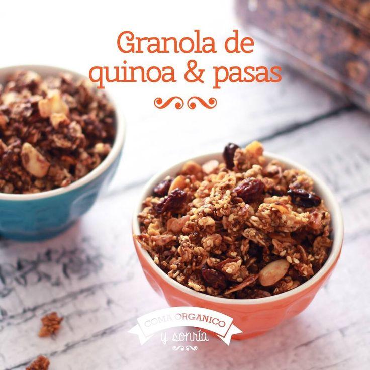 http://comaorganico.com/granola-de-quinoa-pasas/  Encontré está receta muy deliciosa y saludable