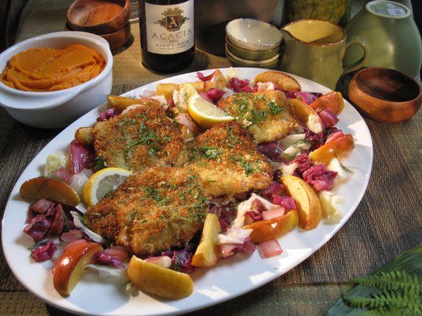 buttermilk_fried_pork_chops, korean burgers, polenta lasagne sara moulton