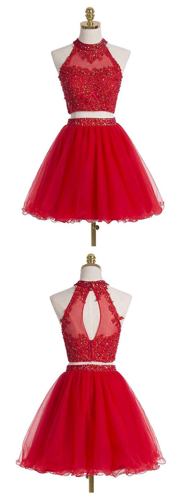 Two-piece Scoop Short Red Organza Beaded Homecoming Dress with Appliques Sequins