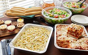 Olive Garden catering: Lasagna / Chicken Alfredo Combination, with salad & breadsticks for the reception...! <3