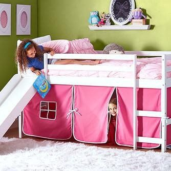 Kids Bunk Beds with Slide and Pink Tent