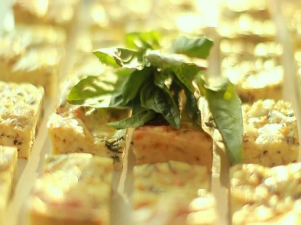 Great, easy appetizer for a crowd. Ina Garten's Potato Basil Frittata Squares
