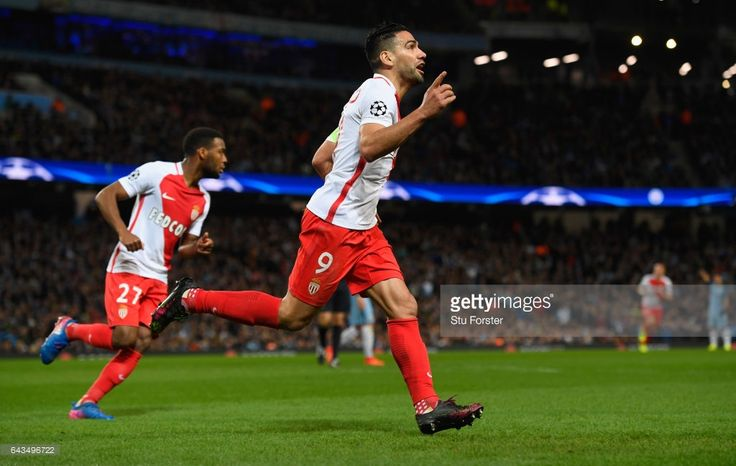 Radamel Falcao Garcia of AS Monaco celebrates as he scores their first and equalising goal during the UEFA Champions League Round of 16 first leg match between Manchester City FC and AS Monaco at Etihad Stadium on February 21, 2017 in Manchester, United Kingdom.