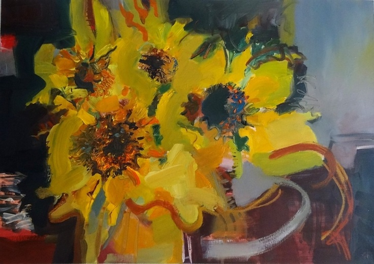 Sue England A vibrant interpretation of some late summer blooms, a bit past their best!   The paintwork is quite textured and bold.   Painted edges  £325