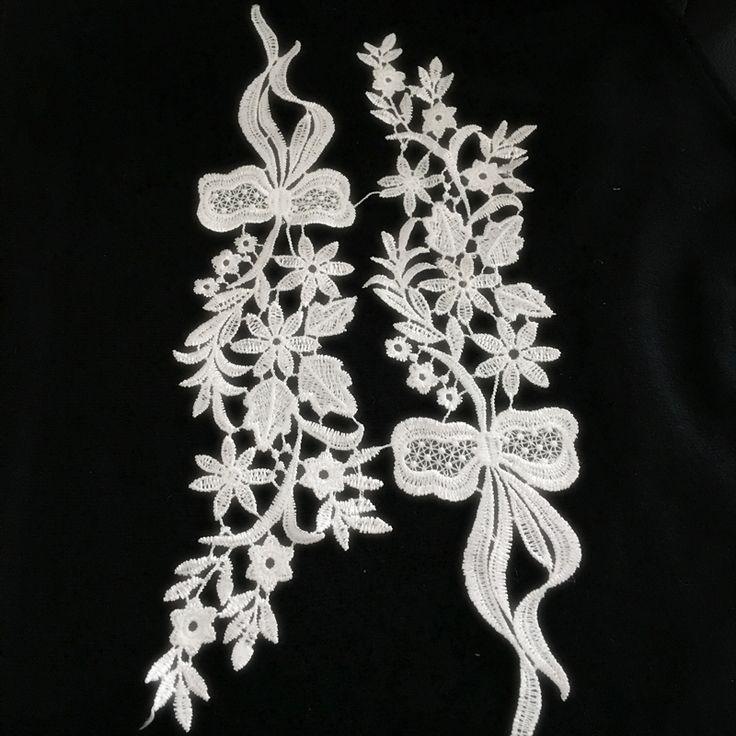 1 Пара Белый 33*8 см Цветок Вышивка Кружева Аппликация Ткани С Сеткой Лист Жаккардовые Ленты Кружевной Ткани Швейная планки # LK23 купить на AliExpress