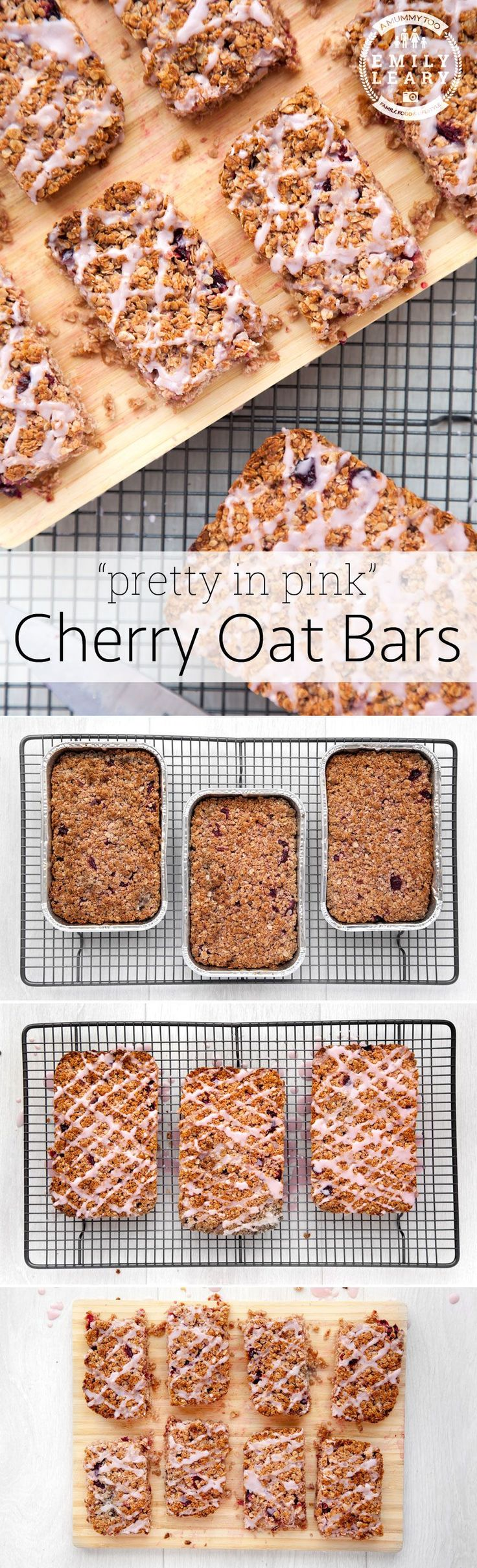 Easy, pretty and delicious cherry oat bars. Great fun to make with kids.