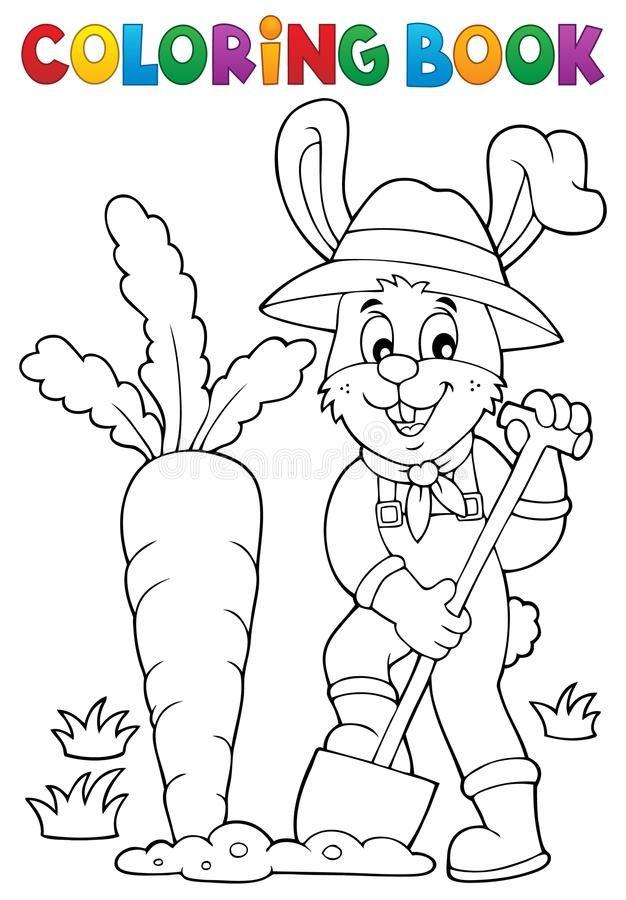 Coloring Book Rabbit Gardener Theme 1 Eps10 Vector Illustration Spon Rabbit Gardener Coloring Book Coloring Books Vector Illustration Illustration