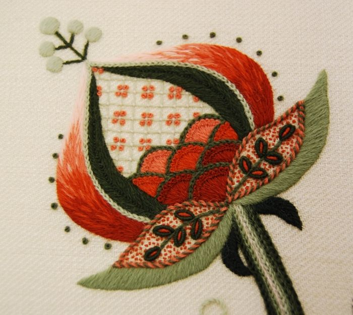 Kauro Sato  Gallery: Jacobean Crewelwork One of the earliest forms of surface stitching, crewelwork uses a range of stitches and elements of shading using crewel wool on linen.