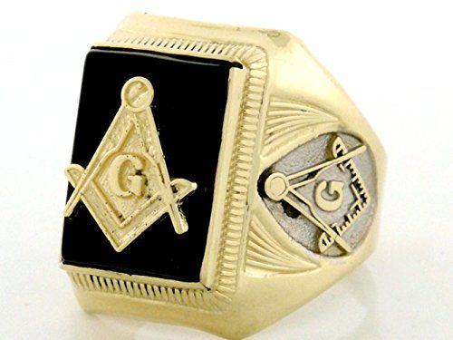 10k Gold Two-Tone Onyx Masonic Mens Ring
