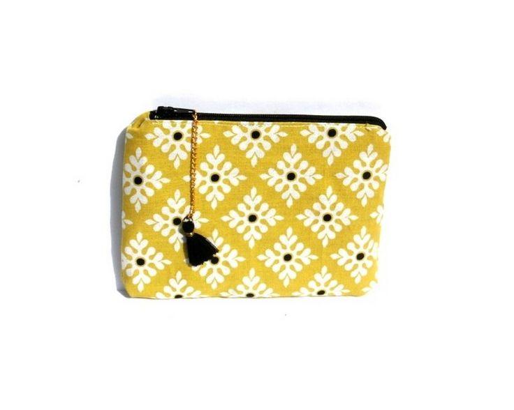 trousse de maquillage pour le sac a main ,porte monnaie, coton, motif rétro verts, blancs, noirs, motifs géométriques, : Trousses par les-petits-pois-sont-happy