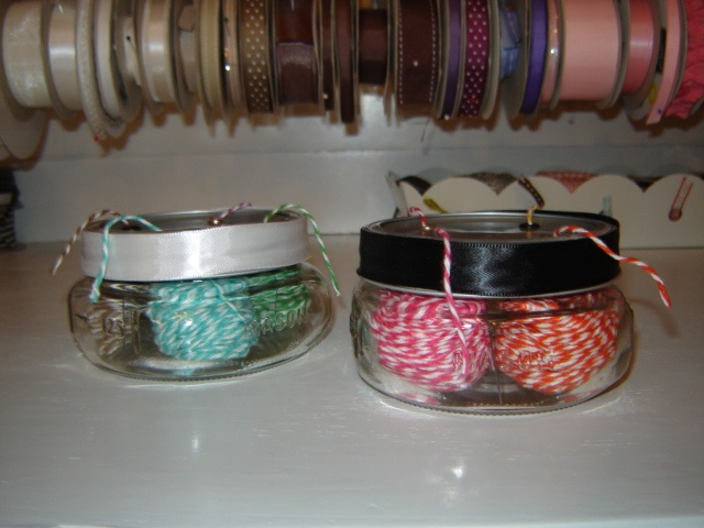 My mini mason jars holding my twine. I got 4 colors in each.