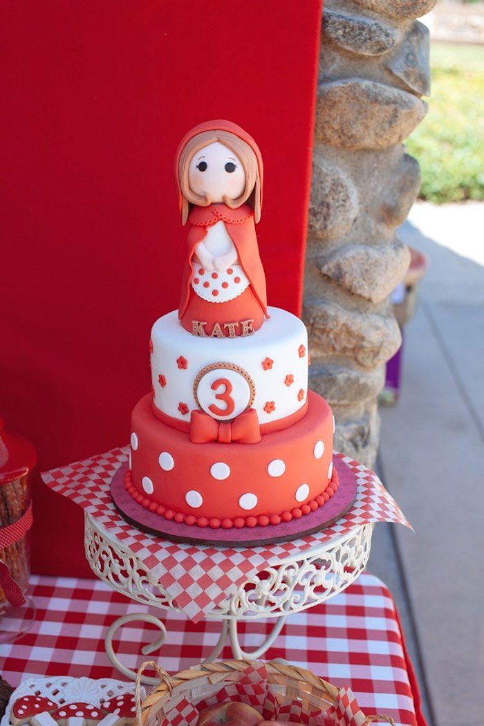 Cake from a Little Red Riding Hood Picnic Party via Kara's Party Ideas | KarasPartyIdeas.com (21)