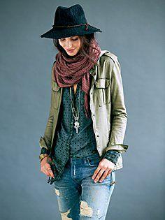 Boho Military Leather Jacket | Bohemian Fall Fashion