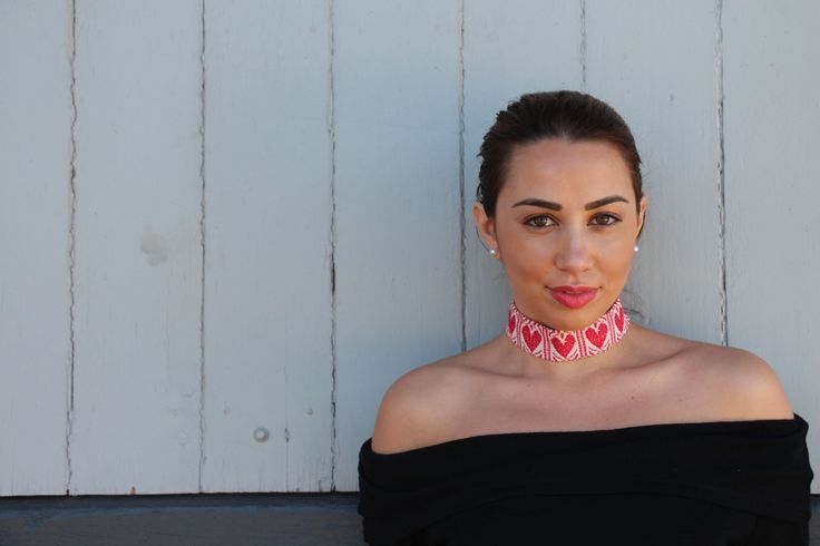 Add that statement piece to your wardrobe! @cvf wearing our heart pattern fabric choker.   | Obsess, collect and discover hidden treasures at Uppermoda | Independent fashion from Croatia | Free Shipping in Australia  ❤️ Repin to your own inspiration board