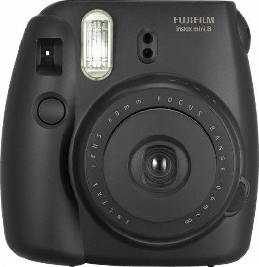 Fujifilm - instax mini 8 Instant Film Camera - Black - Front Zoom