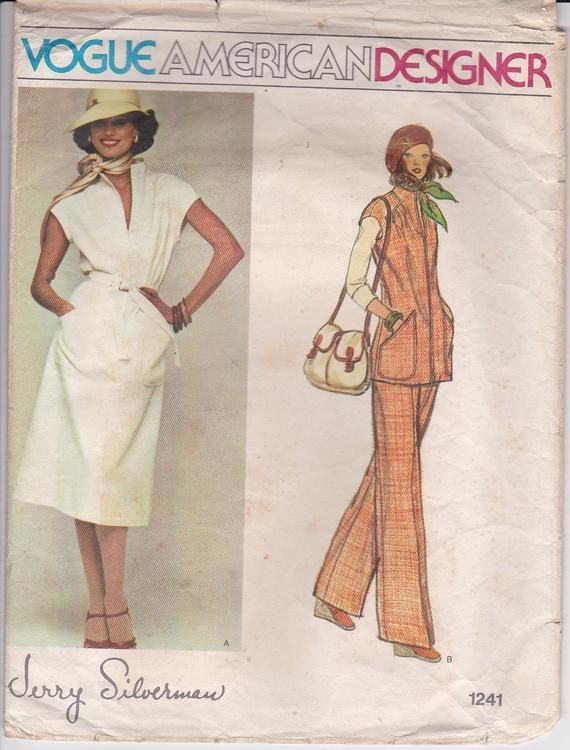 cb7550dd8a1ae Vogue American Designer Pattern - Jerry Silverman 1241, Dress, Top, Pants  Size 12, Cut and complete
