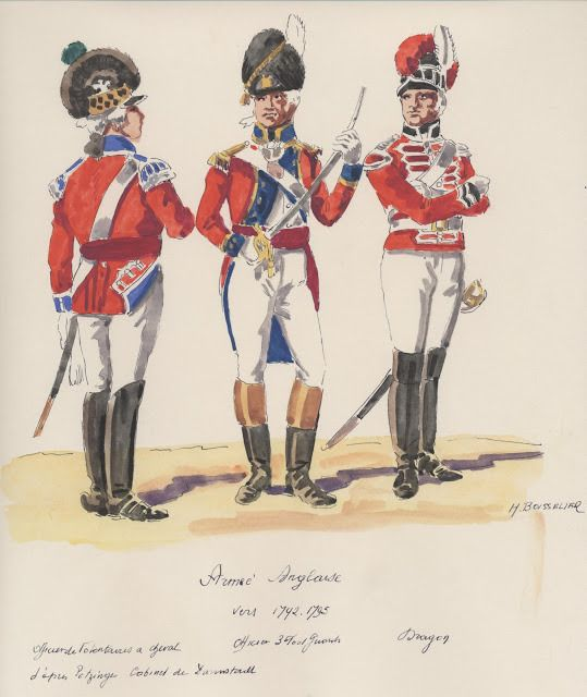 Armee Anglaises ;  vers 1792 - 1795 . officer de vulontaires a cheval,  3th,Foot Guards officer,  Dragoon .