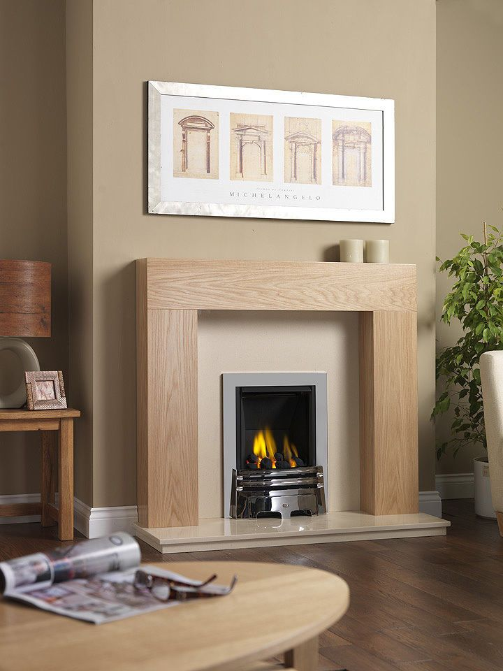 THE CREAM MARFIL MARBLE HEARTH AND BACK PANEL CONTRAST THE LIGHT OAK VERY WELL. THE BRUSHED STEEL CONTEMPORARY MULTI-FLUE GAS FIRE COAL IS INCLUDED IN THE FIREPLACE SUITE. THE SURROUND IS AN IMPOSING OAK VENEER MANTLE WITH A MODERN DESIGN. | eBay!