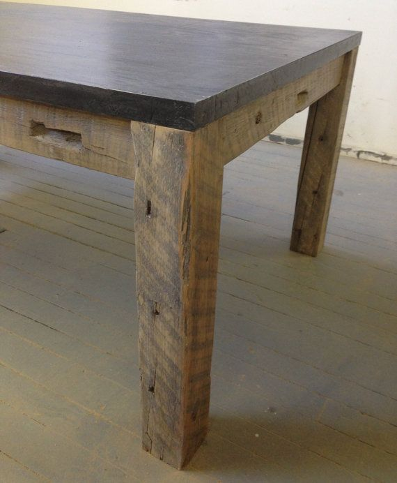 Concrete Slab Dining Table Reclaimed Wood U0026 By Decoratelier