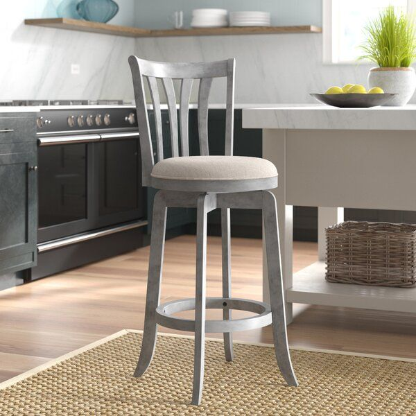 This Swivel Bar Stool Brings Traditional Farmhouse Style To Your Kitchen Island With Its Weathered Gray Blue Finish It In 2021 Swivel Stool Counter Stools Bar Stools