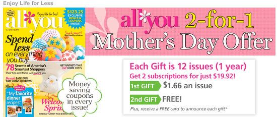 All You Magazine Subscription Deal At .83 Per Issue (The Coupon and Savings Magazine)