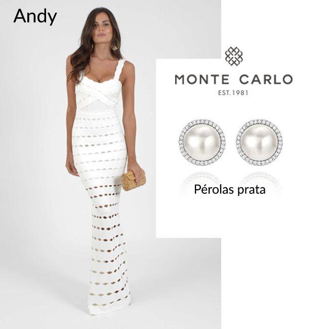POWERLOOK - Aluguel de Vestidos Online –Nosso vestido Andy  bandagem branco fica muito chique com o brinco pérolas prata! #alugueldevestidos #powerlook #madrinha #casamento #festa #party #glamour #euvoudepowerlook #dress #dreams #arrase #alugue #devolva #modaconsciente #beauty #beautiful #andy #branco  #montecarlo #brinco #pérola #bandagem