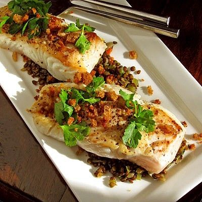 Halibut with Herbed Lentils and Breadcrumbs by Josephine Harlow ❦