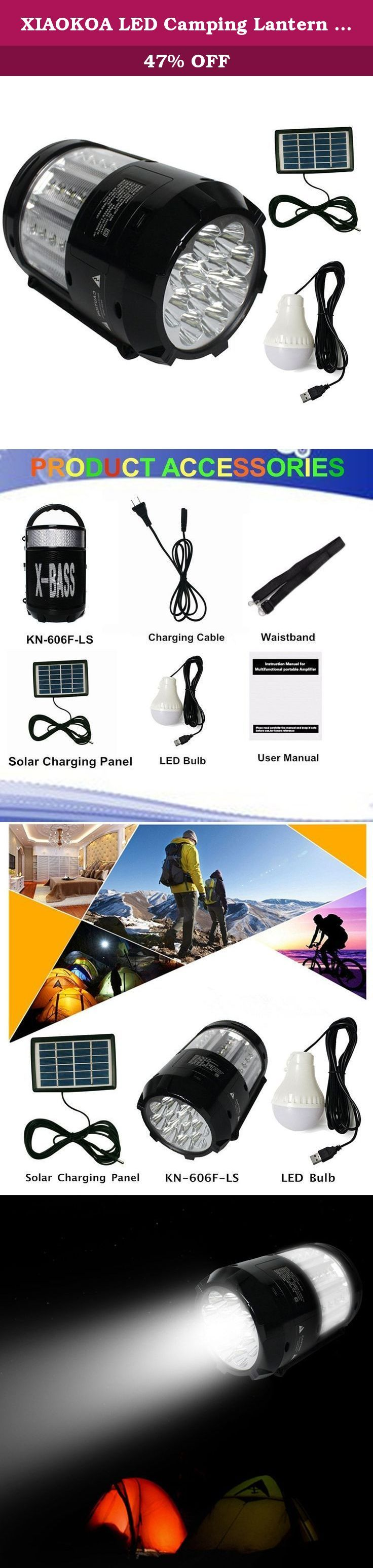 XIAOKOA LED Camping Lantern with FM Radio Music Player Voice Amplifier Cell Phone Charger External LED Bulb, Solar Powered, AC Adapter or 4 x AA Battery(KN-606F-LS). More Product Peatures: -1 Year WARRANTY: At XIAOKOA, we believe in our product. That's why we back them all with 1 year warranty. -Using and charging at same time is available. -One-key switch to change power source to use whichever you want. -One-key searching FM station and save stations automatically. -Music player(support...